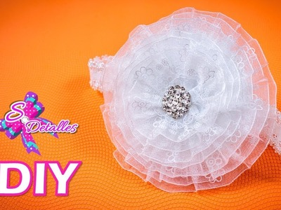 Como hacer Cintillos o Diademas: Diadema c.flor de Organza Rizada | Video# 57 | SDetalles | DIY