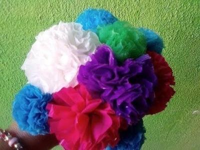 COMO HACER FLORES CON BOLSAS  DE PLASTICO. . PLASTIC FLOWERS