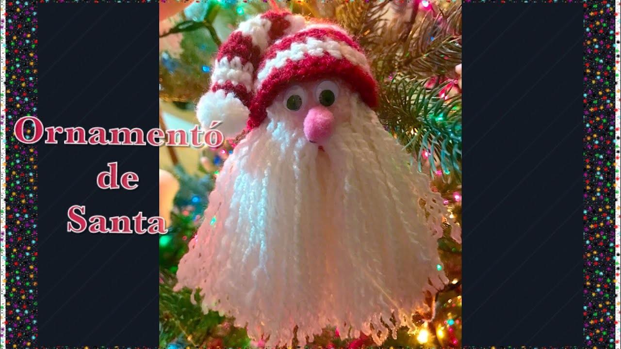 Como hacer ornamento Navideño de Santa Claus con gorro en gancho para árbol de navidad #101