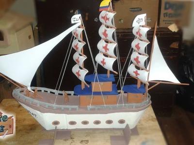 Como hacer un barco Pirata de carton. How to make a boat.CUARTO DE ARTE