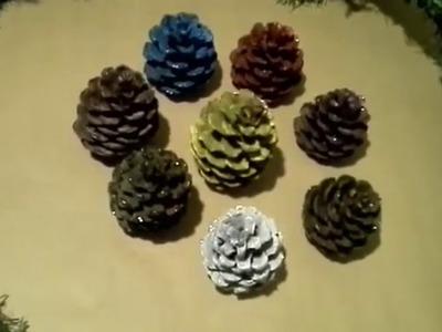 Como pintar piñas de pino facil para Navidad.  pinecones