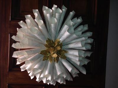 Corona de navidad-Christmas wreath made with books