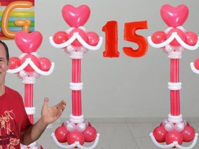 Decoracion con globos para 15 años - decoracion con globos - columnas de globos