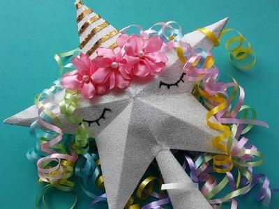 DIY estrella unicornio para el árbol de navidad