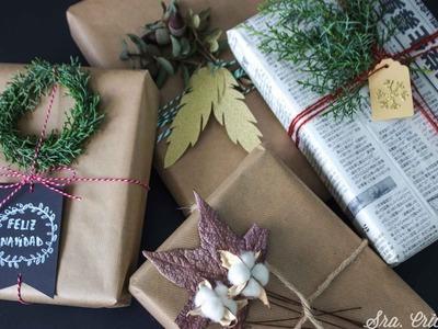 Envolver regalos con elementos naturales y un poco de DIY