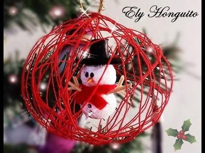 -Esfera navideña de hilo con muñeco de nieve adentro super fácil. Ely honguito