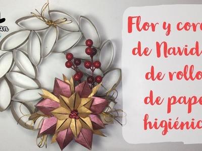Flor y corona de navidad  de rollos de papel higiénico