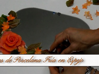 Flores y Rosa en Porcelana Fria, Armado en espejo DIY