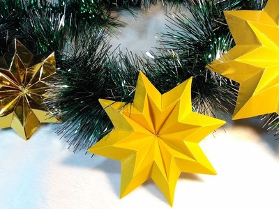 How to make paper Star. Easy origami star! Christmas ornament - star.
