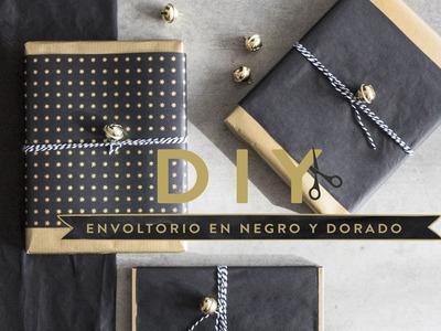 Navidad creativa: regalos vestidos de negro y oro | DIY Westwing