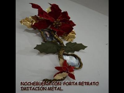 NOCHEBUENA CON PORTA-RETRATOS IMITACIÓN METAL