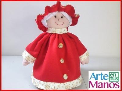 Señora Claus en fieltro o paño lency paso a paso