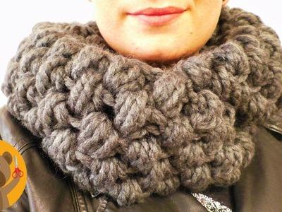 Teje una bufanda en punto burbuja XXL | Super abrigada para el invierno |muy fácil y rápida