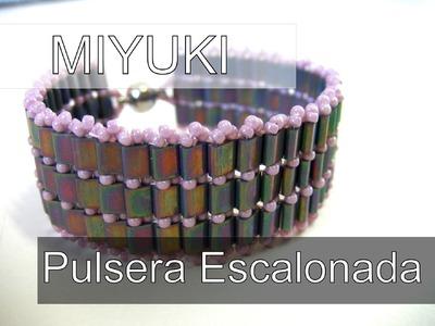 Abalorios Manualidades - Pulsera Escalonada con MIyuki Tila