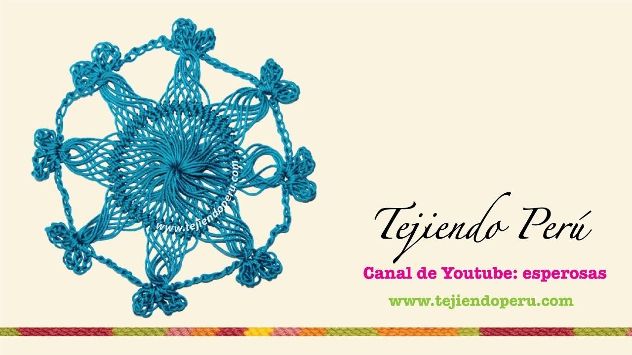 Horquilla (hairpin lace): cómo tejer un motivo circular (# 2)