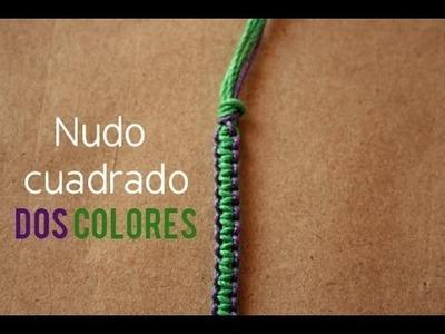 Pulsera: Nudo plano en 2 Colores [FACIL]