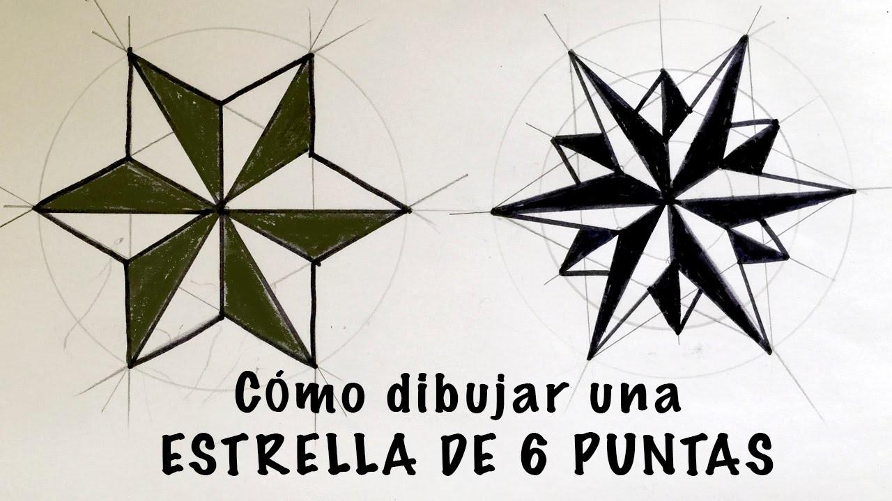Cómo dibujar una estrella de 6 puntas paso a paso