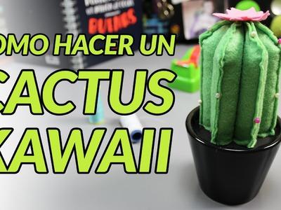 Cómo hacer un peluche alfiletero de un cactus kawaii (manualidades con fieltro)