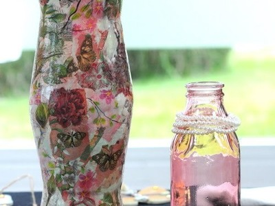 Decoracion Navideña - Reciclar Botellas - Ornamentos con Decoupage