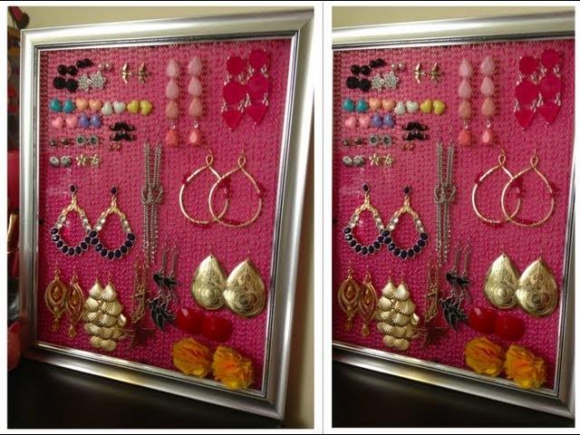 DIY: Como hacer organizador de Pendientes, Aretes, Zarcillos.  Earring holder!