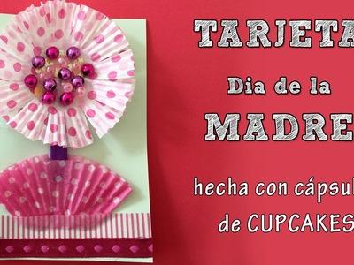 Tarjeta día de la madre:  Flor de cupcake