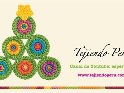 Adorno árbol de Navidad de círculos tejido a crochet