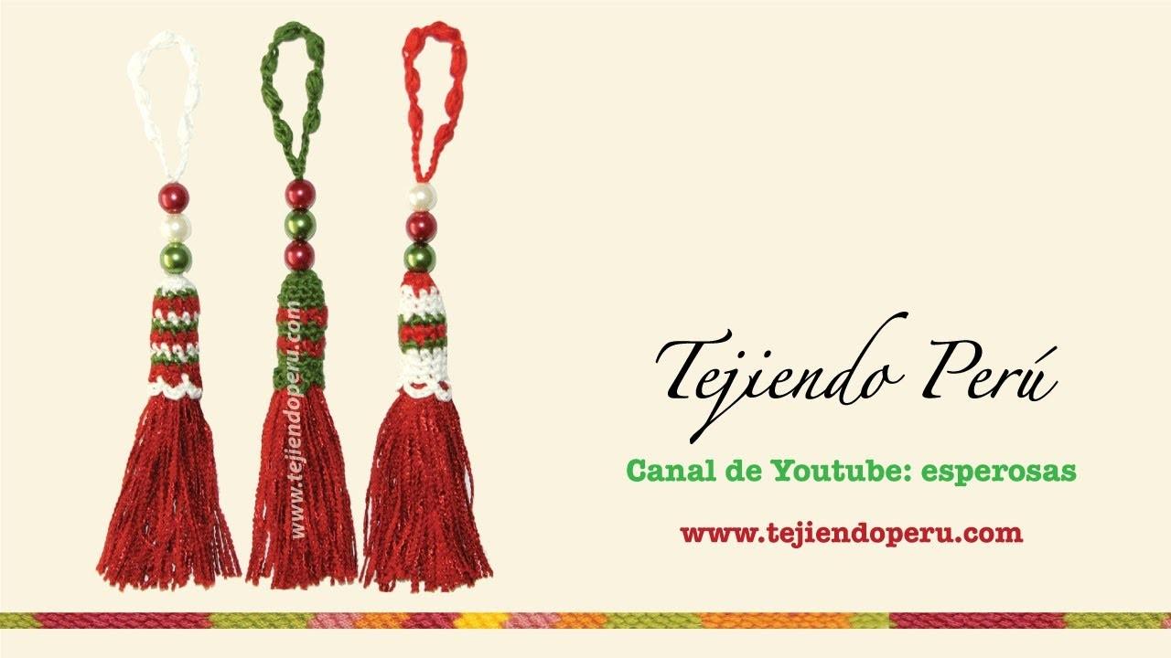 Borlas de navidad tejidas a crochet (Christmas tassel)