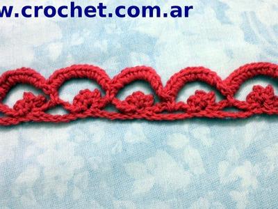 Puntilla N° 26 en tejido crochet tutorial paso a paso.