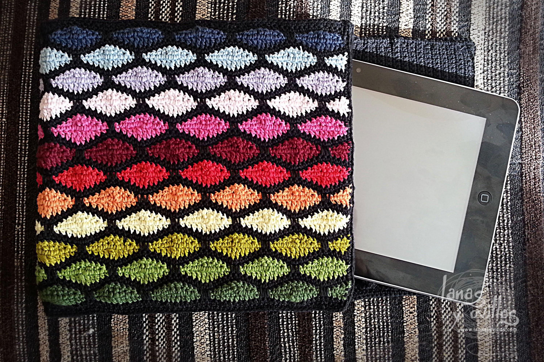 Tutorial Funda Tablet Crochet o Ganchillo Punto Ondas Wave Stitch
