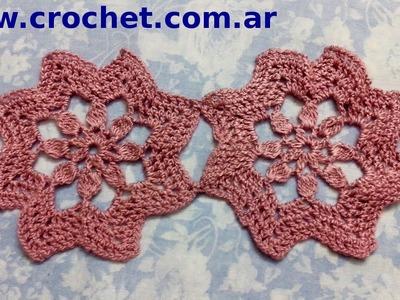 Unión Motivo N° 4 en tejido crochet tutorial paso a paso.