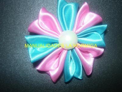 Como hacer flores kanzashi, flores en tela para el cabello  vídeo 132