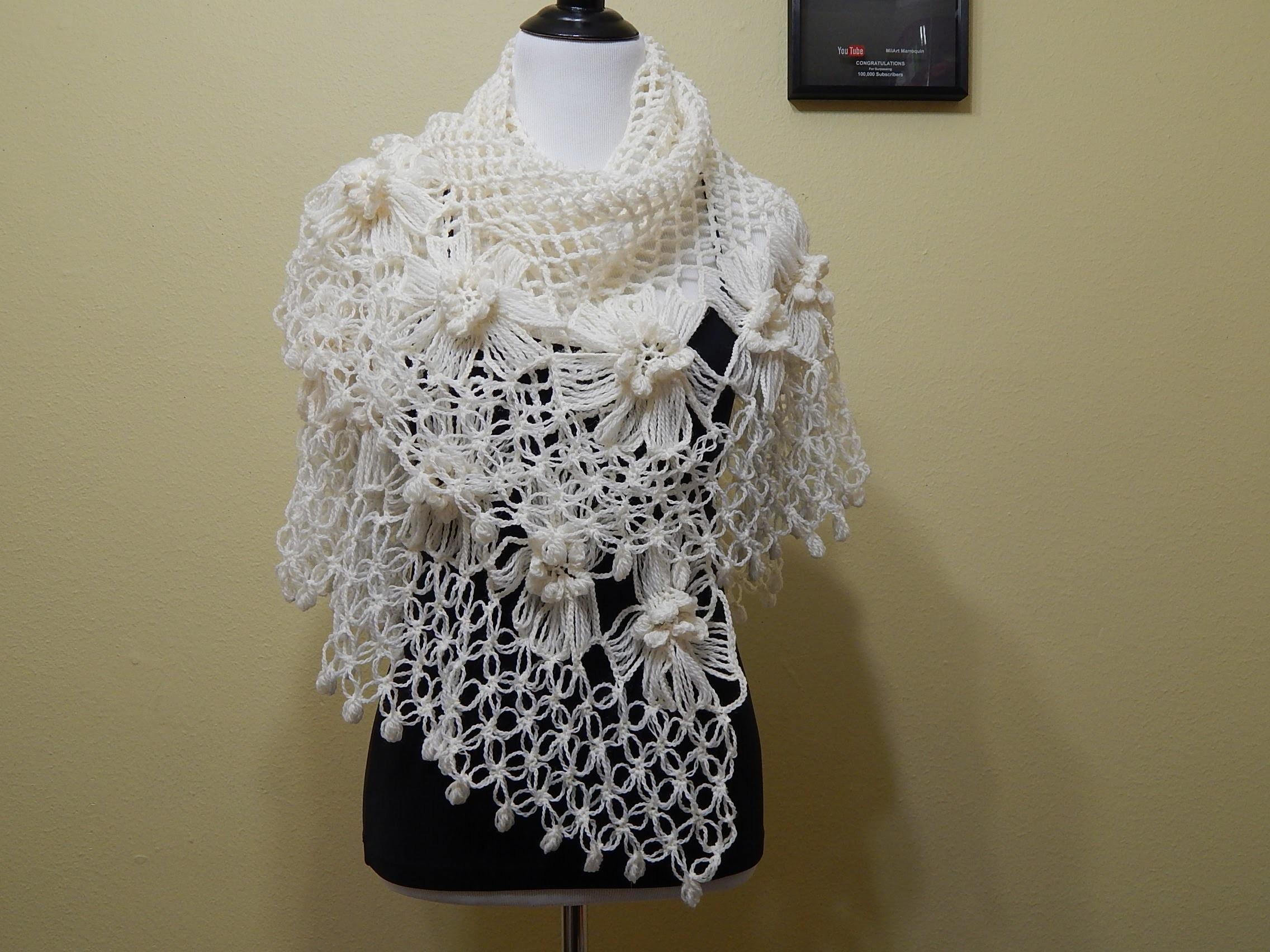 Chal con Flores Crochet parte 1 de 2