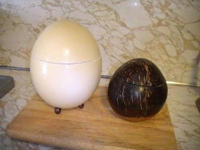 Idea para un huevo de avestruz o un coco.
