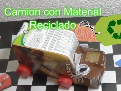Camión, Carro o coche con Material Reciclado. DIY Tutorial Car made from recycled material