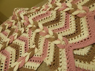 Cobija Manta tres Colores Crochet