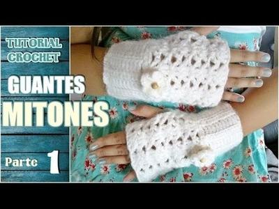 Como tejer mitones, guantes sin dedos a crochet, ganchillo (1.2)