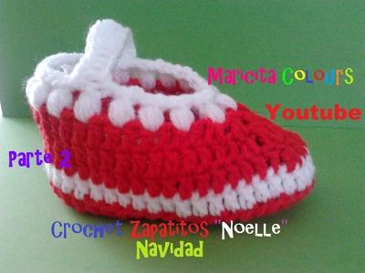 """Crochet Tutorial Bebe Zapatitos """"Noelle"""" (Parte 2) Navidad Escarpines"""