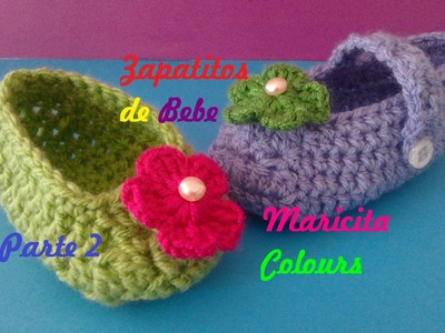 "Crochet Tutorial Zapatitos Escarpines ""Abril"" (Parte 2) Subtitles English & Deutsch"