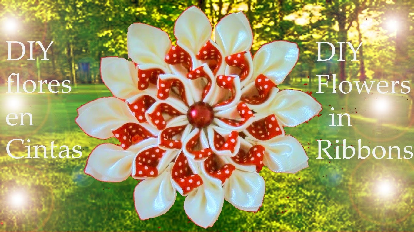 DIY flores kanzashi destellos de hielo y fuego-DIY flowers kanzashi sparkles of Ice & Fire