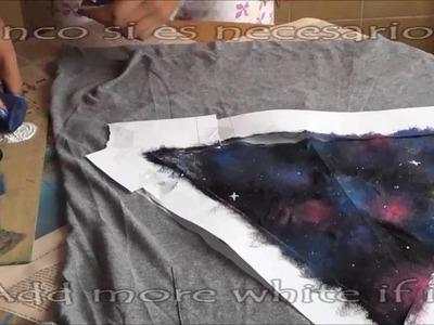DIY Galaxy t-shirt. Camiseta de galaxia