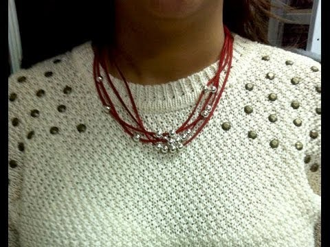 DoiitYourSelf. Collar de ante y bolas ( suede and beads necklace)