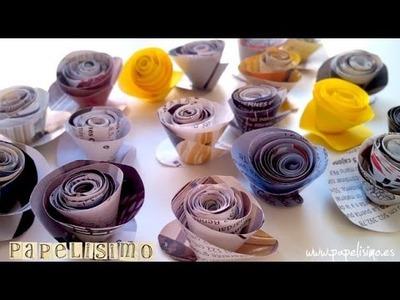 Flores enrolladas de papel con revistas - Paper Flower