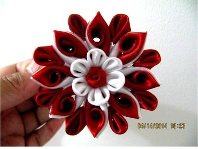 Flores Kanzashi arabescos de colores en cintas para el cabello