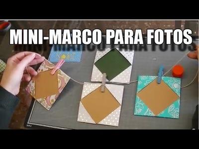 Mini marcos de fotos origami con papel de regalo - scrapbook. Muy fácil.