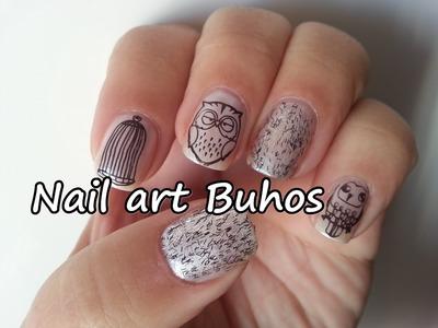 Nail art Buhos. Owl nail art