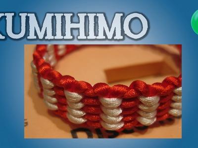 Pulsera kumihimo roja blanca [Re-subida] | [English SUBS] | Kumihimo | Tutorial | DIY