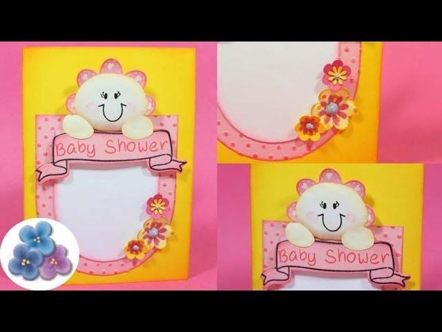 Tarjetas de Invitaciones de Baby Shower DIY *Baby Shower Invitations* Scrapbook Scrap Pintura Facil