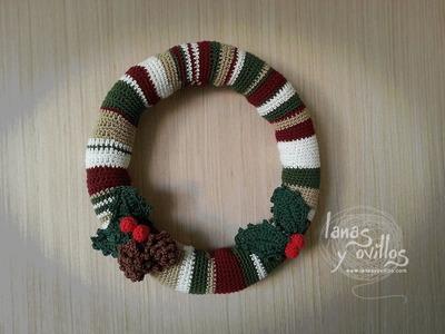 Tutorial Corona Navideña Crochet o Ganchillo Paso a Paso en Español