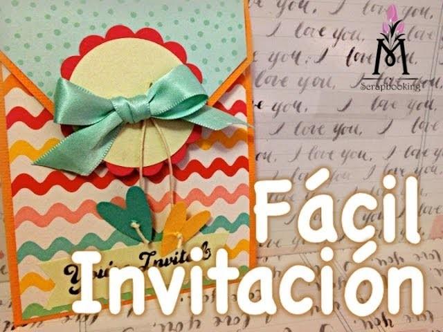 TUTORIAL Invitación Fácil Material Scrapbooking.Easy invitation Scrapbooking