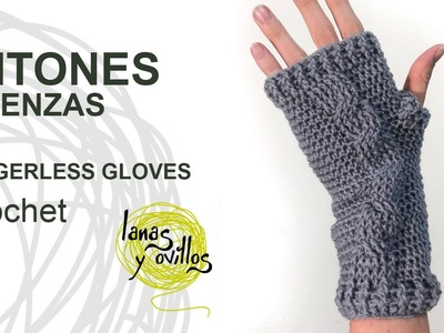 Tutorial Mitones Crochet o Ganchillo Fingerless Gloves (English subtitles)
